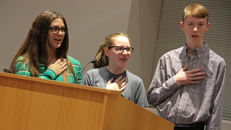 Chisholm Trail Middle School students led the pledge.