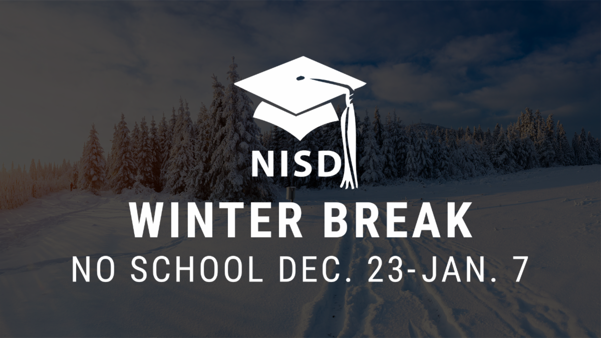 An image saying winter break lasts from Dec. 23 to Jan. 7 over a picture of snow.