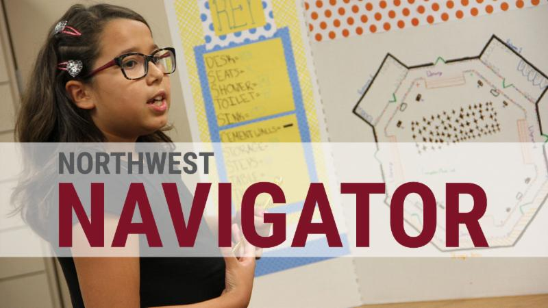 The logo of Northwest Navigator on top of a student presenting a school design