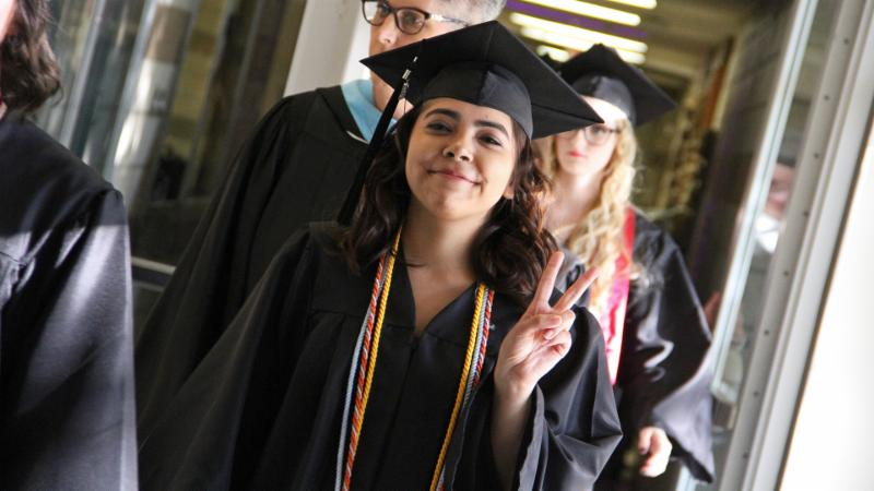 A Steele student prepares for graduation