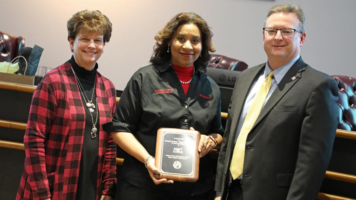 Trustees recognized State Farm agent Chasidy Murphy for her support of district schools
