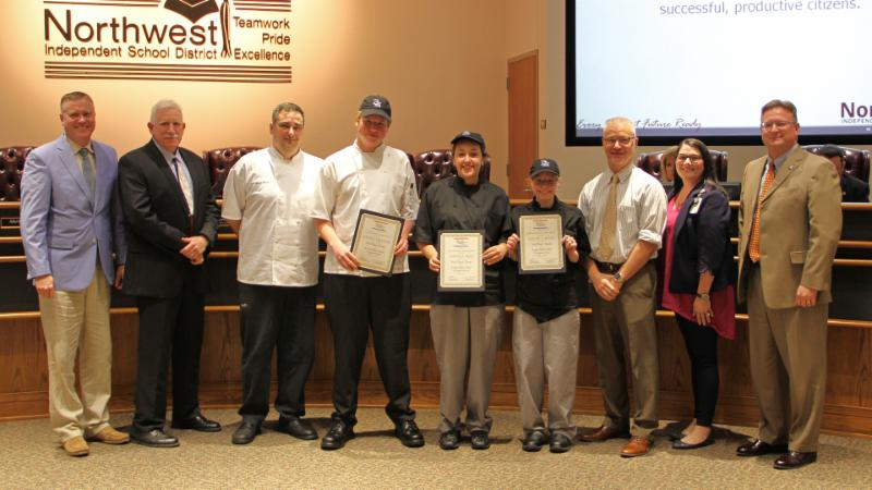 Trustees recognized Byron Nelson_s recent culinary arts award-winners.