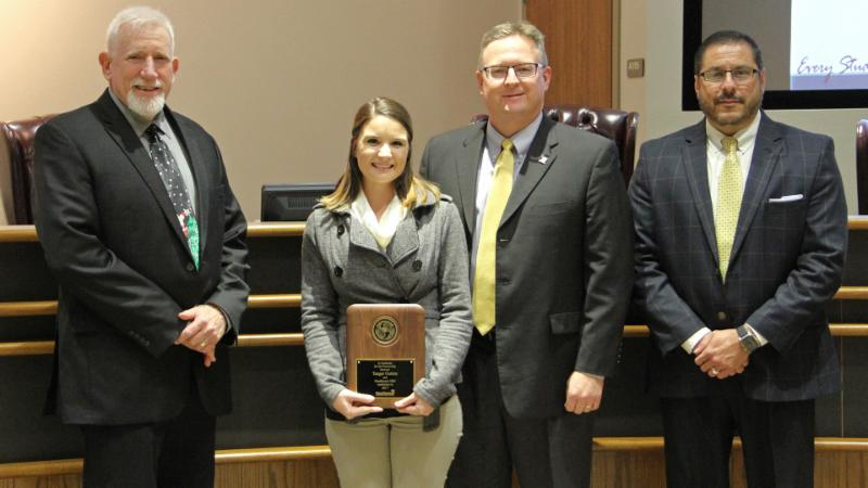 Trustees recognized Tanger Outlets for serving as a district Partner in Education.