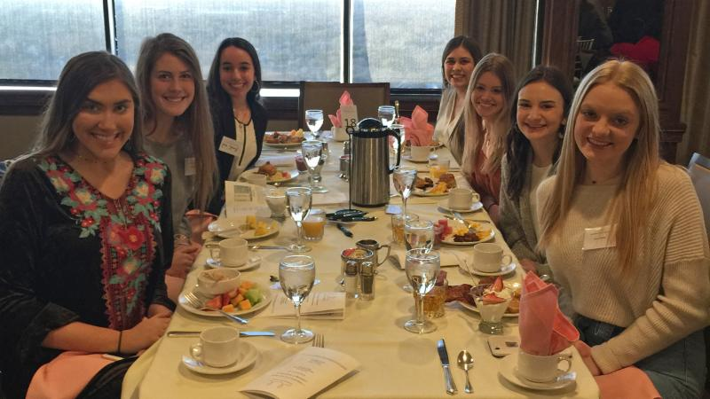 Byron Nelson Student Council members take part in the Bridge Builders Society breakfast