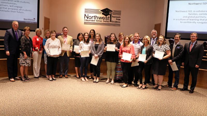 Trustees recognized graduates of the district's LEAD staff leadership program.