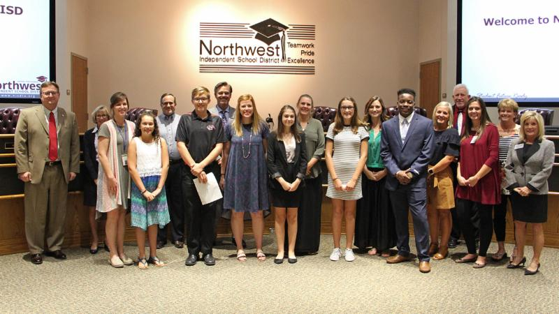 Trustees recognized district AVID students and instructors.