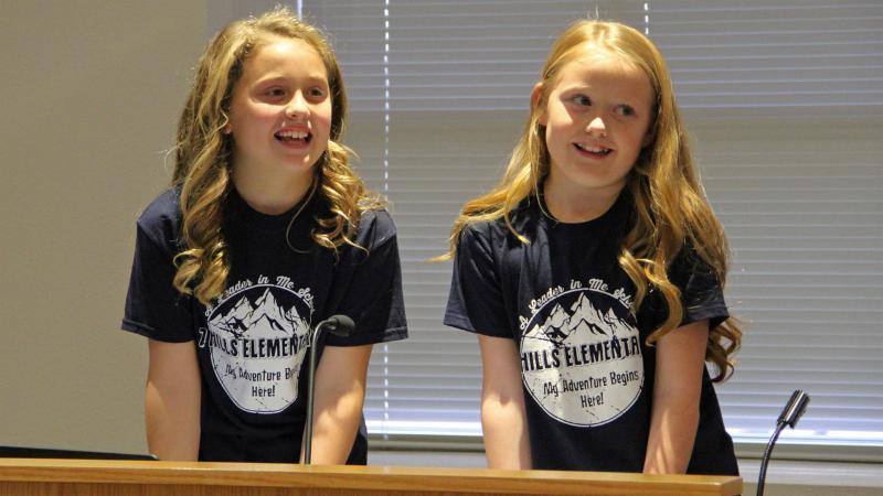 Seven Hills Elementary School students led the pledges.