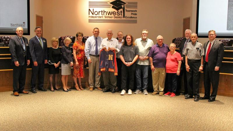 Trustees accepted a donation from Northwest alumnus Calvin Smith of his letter jacket.
