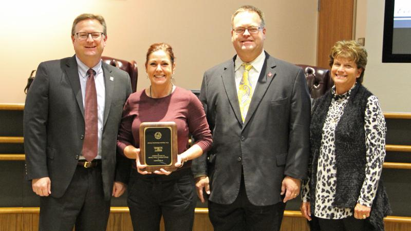 Trustees recognized Chuy_s of Alliance Town Center for serving as a district Adopt-A-School sponsor.
