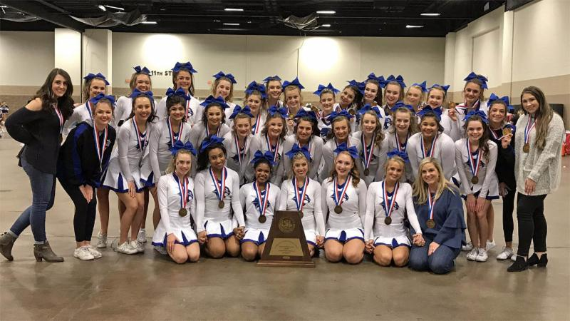 Byron Nelson cheerleaders pose with their state awards