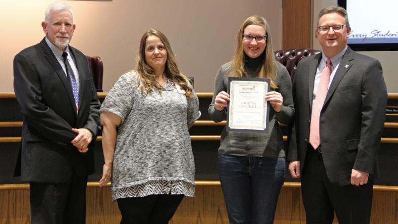 Trustees recognized Katerina Deschaine for her potentially life-saving efforts.