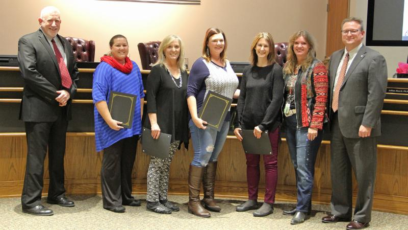 Trustees recognized Virtual Angel Tree volunteers for their work helping district students in need.