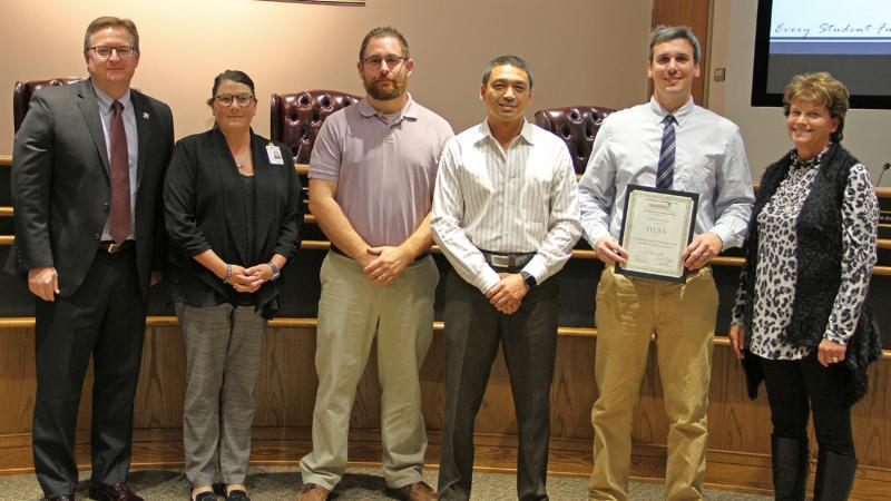 Trustees recognized FedEx staff for their recent assistance with CTE programs during the Alliance Air Show.