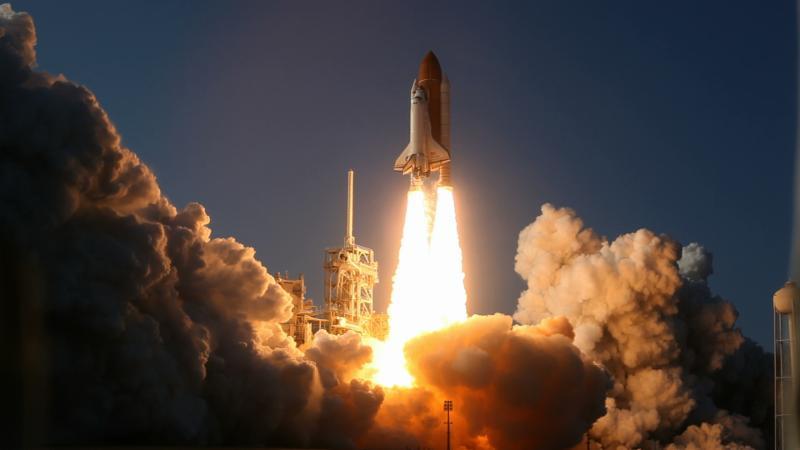 A NASA rocket blasts off