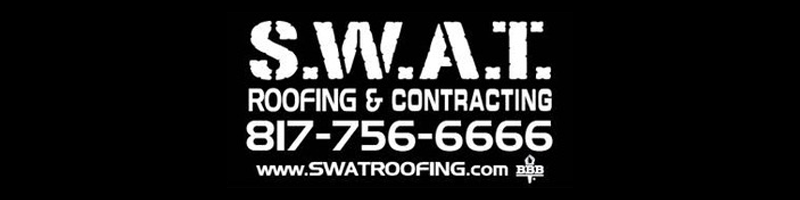 An advertisement for SWAT Roofing