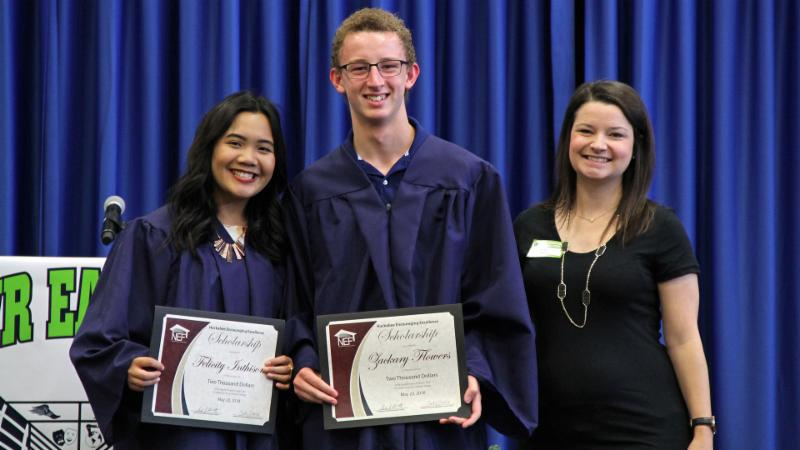 Eaton students pose with their NEF scholarship certificates in 2018