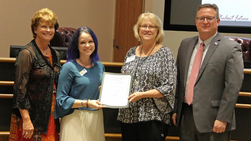 Trustees recognized the United Way of Denton County for its partnership in the district Back-to-School Fair.