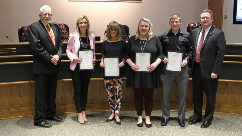 Trustees recognized members of the district_s communication teams for recent professional TSPRA awards.