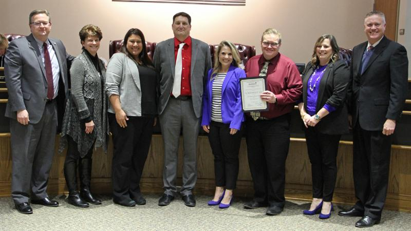 High school representatives pose for the AP District Honor Roll award