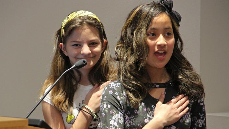 Love Elementary School students led the pledge.