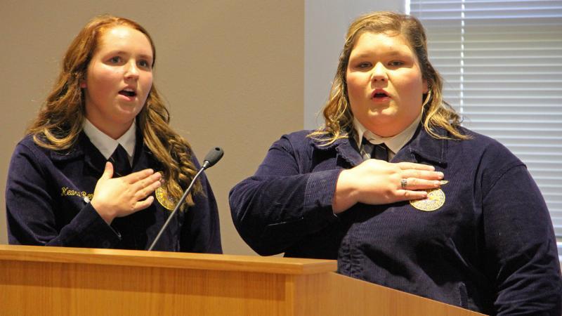 Eaton High School FFA students led the pledge.