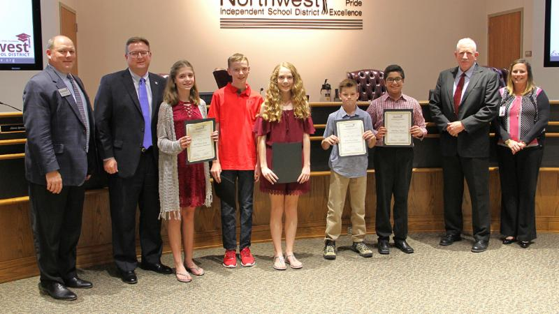 Trustees recognized Chisholm Trail Middle School students for reaching the Destination Imagination Global Finals.