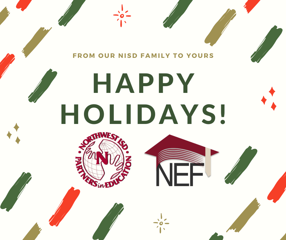 From our NISD Family to yours - Happy Holidays! PIE and NEF logo