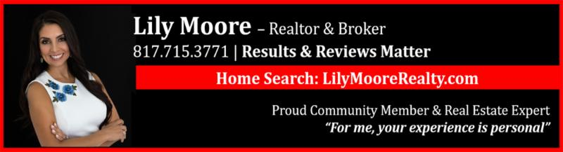 An advertisement for Lily Moore Realty