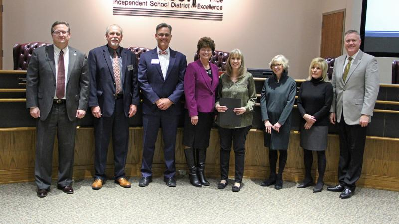 Trustees recognized Connie Thompson for winning the GEM Award.