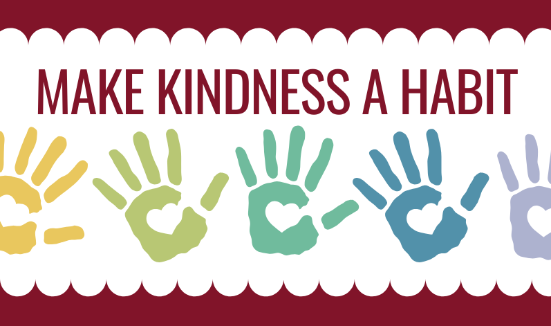 Make Kindness A Habit - hearts in hands graphic