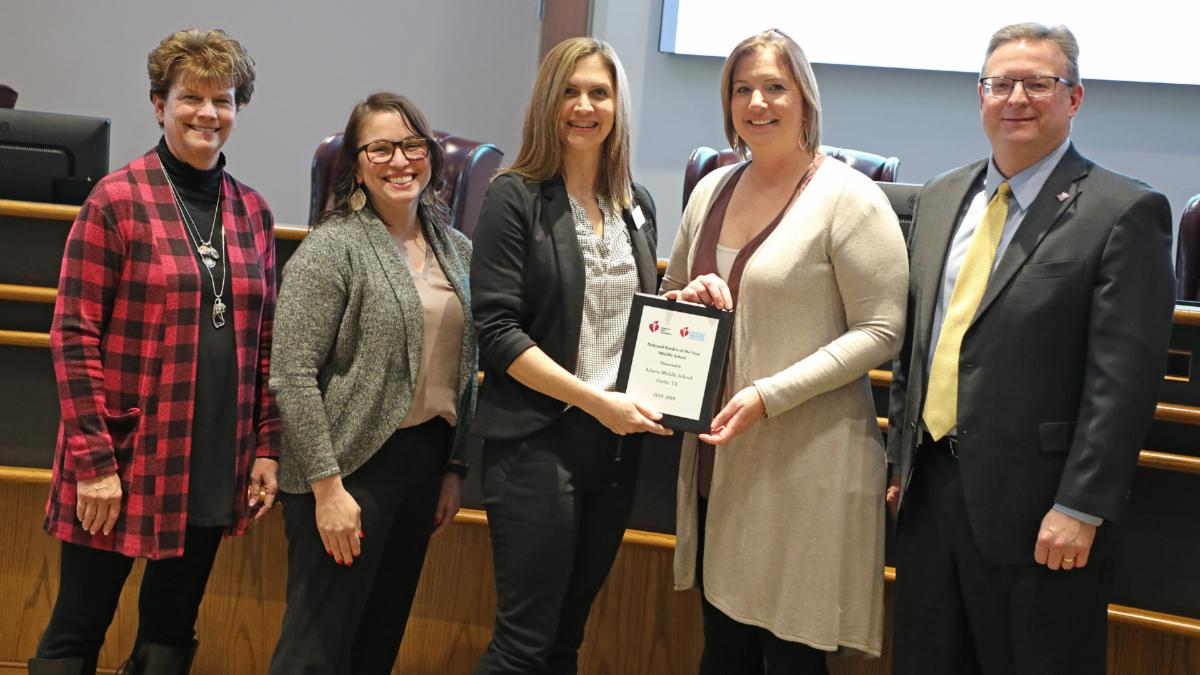 Trustees recognized Adams Middle School for its heart health excellence