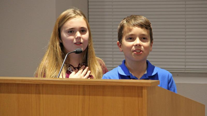 Lakeview Elementary School students led the pledge.