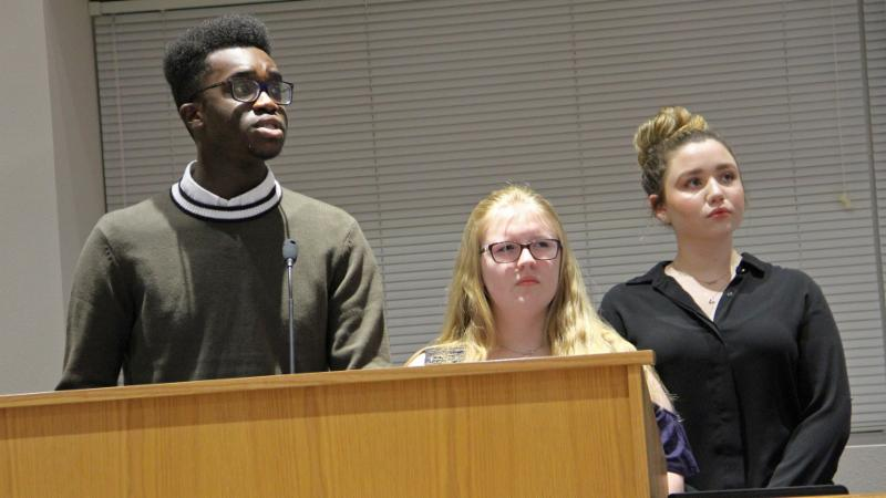 Byron Nelson STUCO members presented an overview of the human trafficking problem in Texas.