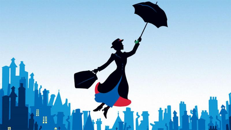 A comic of Mary Poppins floating