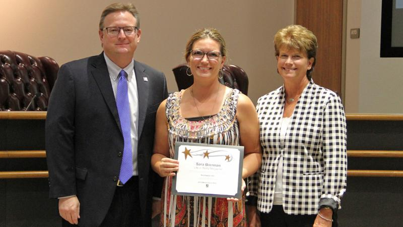 Trustees recognized Sara Brennan of Life in 76262 Magazine for receiving a TASB Media Honor Roll award.