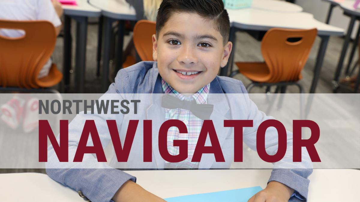 A photo of a boy with the Northwest Navigator logo