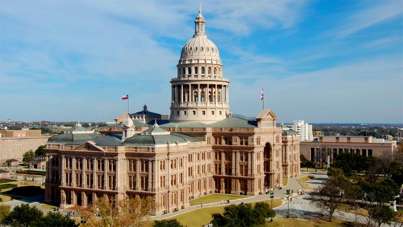 A photo of the Texas State Capitol building
