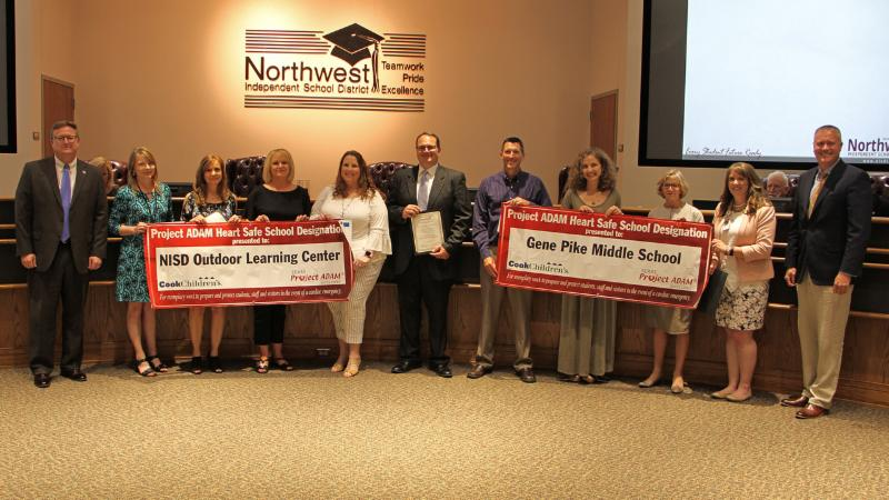 Trustees recognized district schools that have received Project ADAM certification for heart safety.