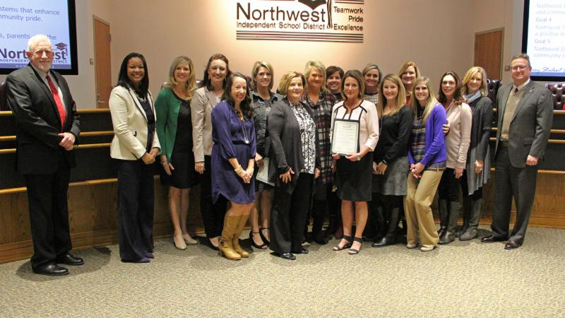 Trustees recognized counselors from Byron Nelson_ Eaton and Nance for winning the CREST award.