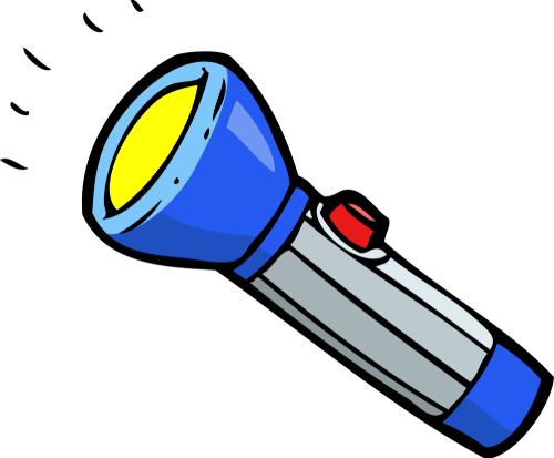 Doodle blue flashlight on a white background raster version