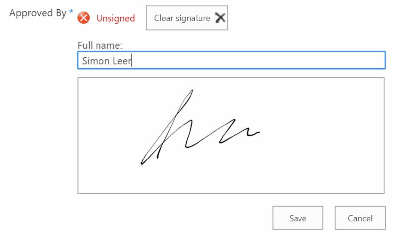 SharePoint Signature Pad Column