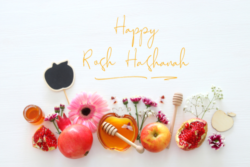 Rosh hashanah  jewish New Year holiday  concept. Traditional symbols