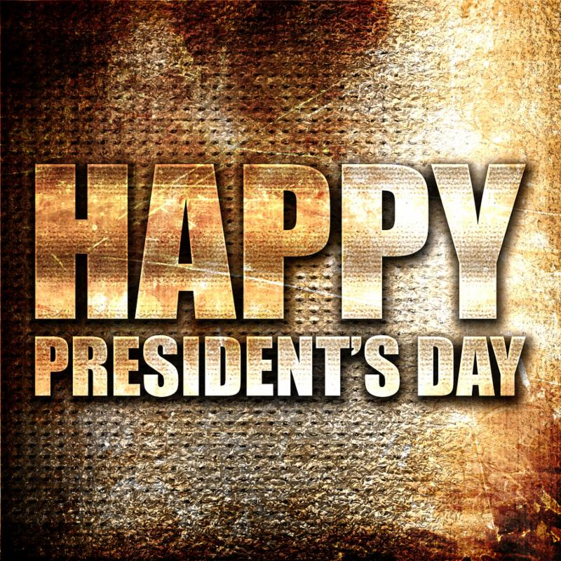 happy president s day_ 3D rendering_ metal text on rust backgrou