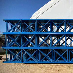 Blue pallet rack uprights