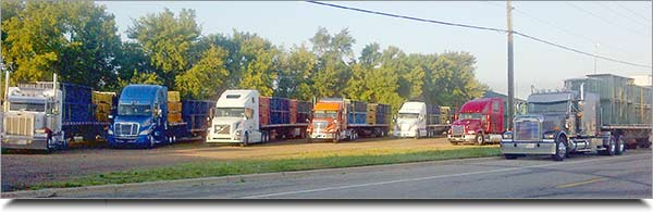 Trucks full of pallet racking