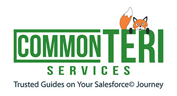 green words CommonTERI Services with orange fox peering over the words_ in black Trusted Guides on Your Salesforce Journey