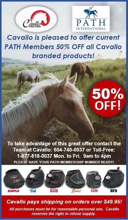 Cavallo Horse _ Rider ad 50_ off for PATH Intl. Members