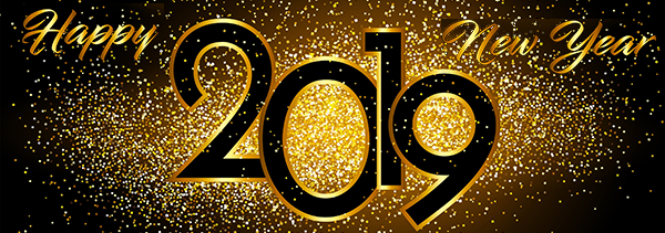 Happy New Year 2019 gold glitter on black background