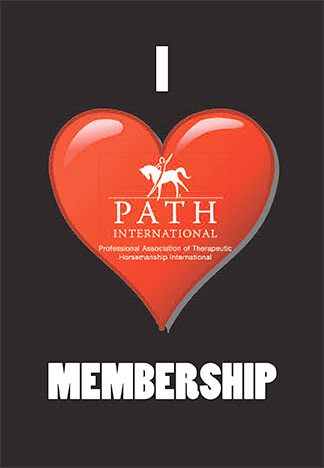Black background, red heart, words I heart membership in white with logo on the heart