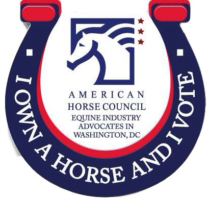 Red white and blue logo I Own a Horse and I Vote